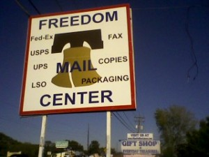 Freedom MAIL Center Sign